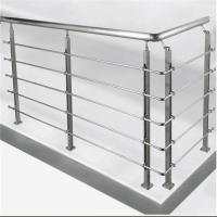 Quality Prefab metal stair railing stainless steel rod balustrade with flat plate post for sale