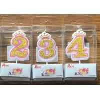 Buy cheap White Candle Gold painting and Pink line with Cute Crown Number Birthday Candles from wholesalers