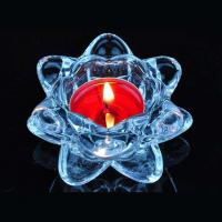 Buy cheap Blue transparent crystal lotus glass candle holder supplier from Wholesalers