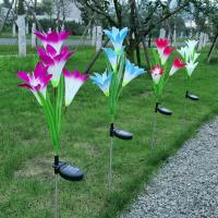 Quality Outdoor Solar Panel Garden Lights,Solar Powered Garden Stake Lights with 4 Lily Flower for sale