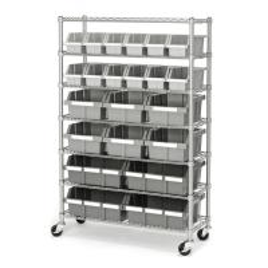 Quality 7 Shelf 22 Bins Kitchen Storage Mobile Wire Shelving Standard Size for sale