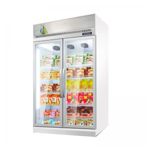 Quality Commercial Refrigerator Double Glass Door Display Freezer With AD Board for sale