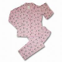 Quality Ladies Printed Flannel Pajama, 100% Cotton for sale