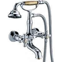 Quality Classic Wall Mounted Bathtub Mixer Taps / Hot Cold Two Handle Brass Faucet for sale