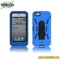 Quality PC+silicone case for iphone5, double color case with stand for sale