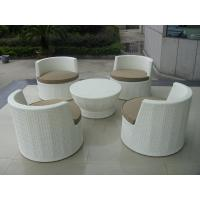Quality Metal Frame And White Poly Rattan Obelisk Chair For Beach / Balcony for sale