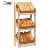 Retail Floor Standing Wooden Bread Display Stand For Bakery Store