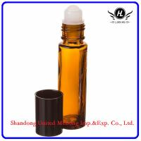 Quality 10ml amber roller glass bottle with plastic roller and black cap for sale