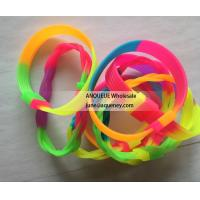 Quality Rainbow rubber bracelets, rainbow silicone wristbands, soft rubber bands for sale
