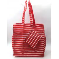 Quality Red Stripe Polyester Reusable Shopping Bags With Pouch OEM / ODM Available for sale
