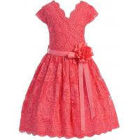 Quality Coral V Neck Cap Sleeves Little Girls Holiday Dresses , Kids Birthday Frocks Rose Lace Flower Belt for sale