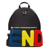 China Buy Most Favorited Fendi Colorful Shearling Letter Logo Leather Backpack,Fendi Backpacks For Sale on sale