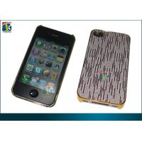 Quality Custom Gold Plating PC Hard Cover for Iphone 4 / 4s Protective Cases with PU Sticker for sale