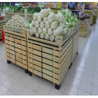 Quality Bottomless Wooden Retail Display Shelves / Fruit Vegetable Wooden Shop Shelving For Store for sale