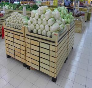 Quality Vegetable Supermarket Wooden Display Rack / Fruit Vegetable Wooden Shop Shelving For Store for sale