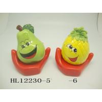 Funny Ceramic Piggy Bank Money Box Fruit And Vegetable Shaped With Base