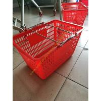 Quality Red Flexible Used Plastic Shopping Baskets With Curved Metal Handles / Grip Hand for sale