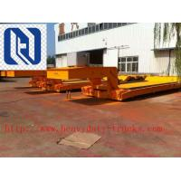 Buy Sinotruk Flat Bed 3 Axles Semi Trailer Trucks in Red for Unloading at wholesale prices