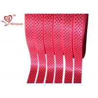 China Red Polyester personalized awareness ribbons With Little Polka Dots on sale
