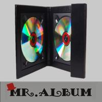 Quality Black leather double CD case with overlapping cover_CD case with magnet for sale