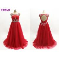 Quality Red Illusion Maxi Sexy One Piece Scoop Neckline Custom Made Prom Ball Gowns for sale