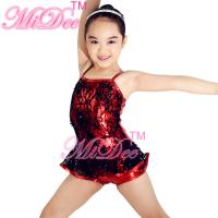 China Biketard Sequined Black Lace Over Matelic Jazz Tap Costumes for Children on sale