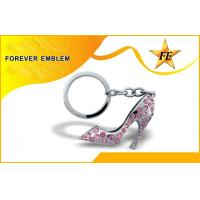 China High-Heeled Shoe Metal Promotional Keychains Silver With Rhinestone on sale
