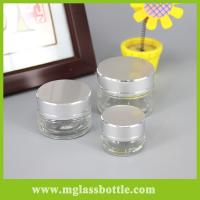 Quality Transparent glass cosmetic cream jars with seal for sale