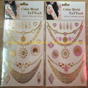 Quality Custom body temporary gold silver foil metallic flash tattoos for sale