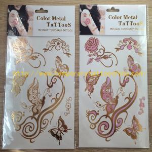 Quality hot gold silver foil tattoo metallic flash tattoo jewelry bracelet necklace body tattoo for sale