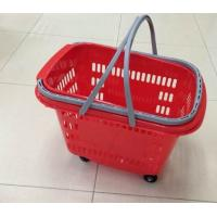 Quality Waterproof Rolling Plastic Trolley Folding Shopping Basket With Wheels And Handle for sale