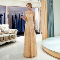 Gold Color Adults Ladies Evening Dresses Breathe Freely Womens