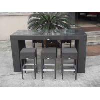 Quality Resin Wicker Bar Set , Dark Brown Rattan Conservatory Furniture for sale