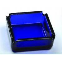 China Beautiful Square Blue Glass Ashtray Glass Cigar Ashtrays DWAS07 on sale