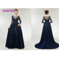 Quality Long Sleeves Mother Of The Bride Formal Gowns Detached Tail Dark Blue Beading Banquet for sale