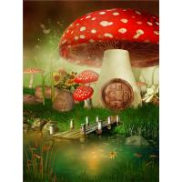 Crystal Surface Decorative Wall Panel Sheets Red Mushrooms Pattern Anti Water