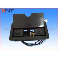 Black Manual Flip Up Table Cable Cubby With 1.5 Meter Cable Connectors