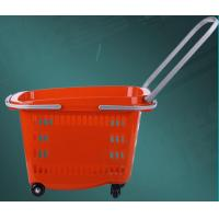 Quality Portable Rolling Shopping Baskets With Handles , Wear Resistance Basket With Wheels For Grocery for sale