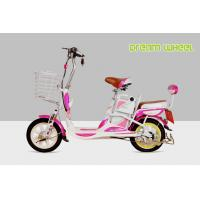 Buy Mini Cool Pedal Assist Electric Bike 350W 48V Pink White Fashion Throttle System at wholesale prices