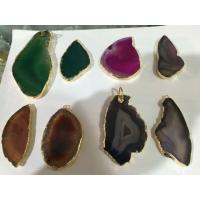 Buy cheap Drusy Gemstone Pendant With Amethyst Heart , Hole Raw Agate Stone Point Necklace from Wholesalers