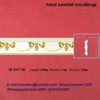 Quality Hand Painted Green plant / Crown mouldings / PU Mouldings for sale