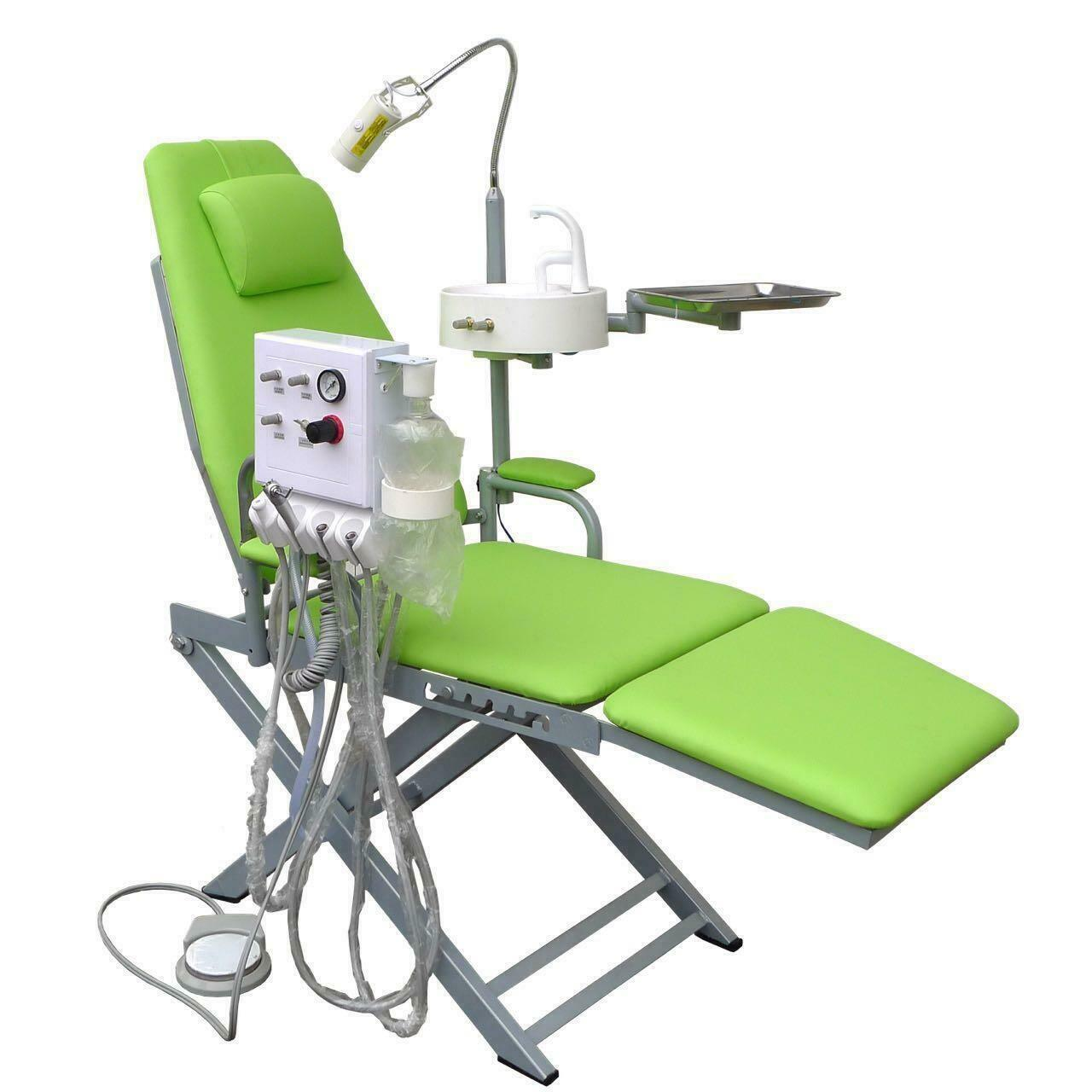 Quality Portable Folding Dental Chair With Turbine Unit Led Surgical Light Lamp for sale