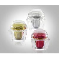 Quality 200g Trapezium Transparent Acrylic Cream Jars Acrylic Bottles Package With Flat & Dome Cap for sale