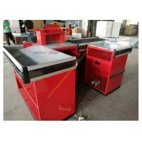 Quality Supermarket Design Retail Cash Register Table / Cashier Desk With Conveyor Belt for sale