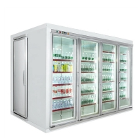 Quality Cheaper cost cold room storage double anti-fog glass door freezer storage cold room drinks and milk cold storage for sale