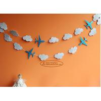 Buy White Cloud Airplane Paper Garland Craft Tassel Garland Solid Color And Mixed at wholesale prices
