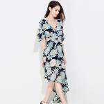 Quality Chiffon Half Short Long Sleeve Casual Dresses Elegant For Women for sale
