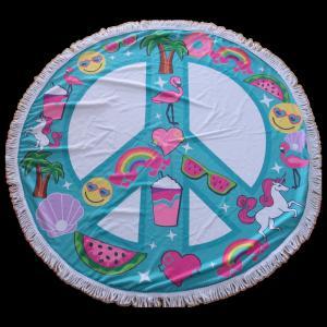China New design promotional microfiber circular beach towel round beach towel for Christmas on sale
