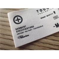 Quality Cotton Woven Clothing Labels With White Background And Printing Graphic Logo for sale