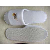 Quality brushed cotton disposable slipper with printed logo open toe for sale